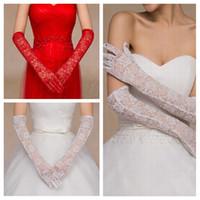Formale langer spitze Spitzen-Ellenbogenlänge-Brauthandschuhe vollen Finger für Party-Hochzeitsereigniszubehör verhindern Bask