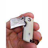 FK-14 High-End-Kleinste Jiang Damaskus Mini Folding Messer Kleines Taschenmesser mit weißen Büffeln Knochen Greifen Lagerstruktur