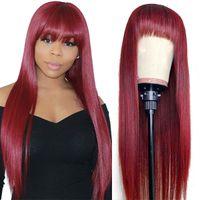 Brasiliani 4/27 parrucche di capelli umani diritti con Bangs 27 # 30 # 99j Ginger Ginger Peruviano Nessuno dei parrucche del pizzo Capelli indiani Malesia