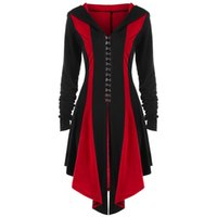 Gothic Long Cardigan Abrigo Mujeres Casual Top Otoño Moda Hot Back Lace Up Thin Fitness Delgado Mujer Azul con capucha abrigos abrigos