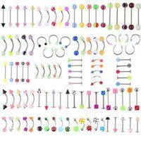 Promoção 110 PCS Modelos Mistas / Cores Conjunto de Jóias Corpo Resina Umbigo Umbigo Umbigo Nour Piercing Bar Anéis