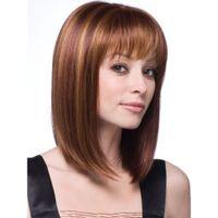 2019 peruca de cabelo brasileiro do presente do Natal para a mulher, moda realista de comprimento Médio cabelo reto cabelo sintético trança WIG-010A