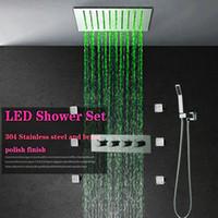 6 바디 제트 욕실 샤워 꼭지 세트에서 벽 비 황동 샤워 헤드와 LED 전등 목욕 샤워 믹서 탭 탑재