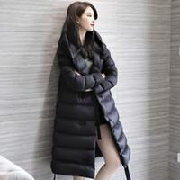 Al por mayor-Fitaylor Ultra Light 90% de pato blanco abajo Parka invierno de las mujeres largas delgadas de la chaqueta con capucha abrigos Mujer caliente Casual Ejército Verde Abrigo