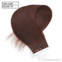 الصف 7A-- بو الشريط في البرازيلي شعر إنساني إمتداد مستقيم بني لون الشريط في 40PCS الإضافات / حزمة ريمي الشريط في الشعر