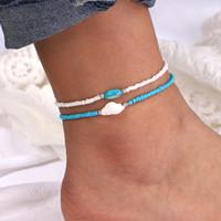 Kadınlar için ayarlanabilir Mavi Beyaz Boncuk Halhal Doğal Kabuk Kabuklu Bacak Ayak Bilezik Bohemian Sandal Ayak Bileği Zincir Bilezik