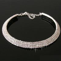 Cristal bijoux de mariée sexy Artificielle diamant collier pour Prom Party Bijoux de mariage de l'événement formel Set Accessoires de mariée 3 rangées strass