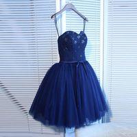 Chic senza spalline Abiti Lace Tulle A-Line Navy blu abito 2015 breve mini del modello perline partito del vestito Boutique pizzo posteriore Sweet 16 Dresses