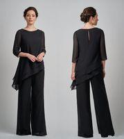 Nuevo Simple Negro Madre de novia trajes Talla grande Gasa Cuello Manga larga Volantes Talla grande Longitud del piso Boda Invitado Madres Vestido
