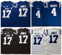 Mens 17 Daniel Jones 2019 Duke Depressão nervosa Myles Hudzick Colégio Camisola De Futebol Em Casa Azul 4 Myles Hudzick Costurado Camisas De Futebol M-XXXL