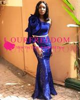 Плюс размер 2019 Великолепная Royal Blue Русалка Вечерние платья из бисера Длинные рукава одно плечо Вечернее платье Arabic Pageant платье знаменитости
