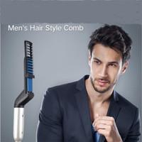Elektrische Mann Haarglätter Kamm Hairstyling Lockenwickler Männer Hair Styler Pinsel Lockenwickler Hairdressing Curling Straighter Haarbürste