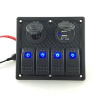 4 panel de interruptor de cuadrilla 12 V Toma de corriente Doble adaptador de cargador de alimentación USB LED azul Interruptor basculante de aluminio Panel para RV Barco