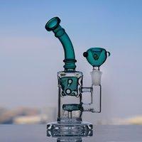 8,4 pouces mini petite petite viole verte épaisse en verre dab plates-plates plateaux de tuyaux d'eau Brochettes d'huile de recyclage BONG BONG avec joint de 14mm