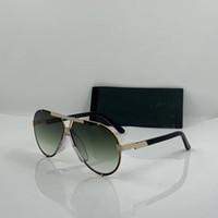 Vintage Legends pilota Occhiali da sole 909 Metallo Oro bianco / verde Sfumato Occhiali da sole Occhiali da uomini così Moda Occhiali di nuovo con la scatola