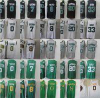 Basketbol Jayson Tatum Jersey 0 Gordon Hayward 20 Kemba Walker 8 Larry Bird 33 Jaylen Brown 7 Edition Kazanılan Şehir Siyah Yeşil Beyaz