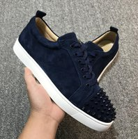 Real Leather Foto Suede Com Spikes Studded sapatilhas para mulheres, homens Red inferior Casual Walking Luxo Low Top Trainers Com Box