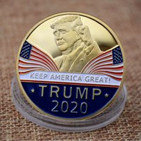Medaglia in metallo placcato oro Trump Metal Badge 3D Presidente americano Donald valuta Moneta commemorativa Collezione Moneta Regali HH9-2217