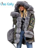 Lisa Colly Artı Boyutu Kadınlar Kış Ceket Kapüşonlu Palto Ile Pamuk Ceket Faux Kürk Ceket Sıcak Parka Kadınlar Kalın Kürkler