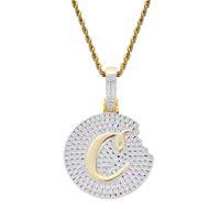 hip hop cookie diamants pendentif colliers pour hommes femmes luxe cristal cooky pendentifs or 18 carats pendent cuivre zircons or argent collier