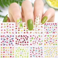 12pcs Summer Fruit Stickers For Nails Strawberry Lemon Flowe...