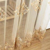 Luxus bestickter Sheer Sheer Voile Vorhang-Fenster-Drapes Cortina für Wohnzimmertür Gold Spitzenvorhänge Tüllfenster