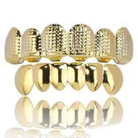 Hip hop celosía grillz para mujeres de los hombres de lujo de platino verdadero oro parrillas dentales plateados dientes occidentales jewelyare 2 colores oro, plata,