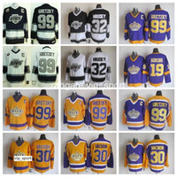Los Angeles Kings Fazlar Buz Hokeyi Erkekler 99 Wayne Gretzky 30 Rogatien Vachon 19 Butch Goring 32 Kelly Hrudey Vintage Jersey Siyah