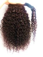 Nouveau Arrivent Brésilien Vierge Humaine Remy Kinky Curly Ponytail Extensions de Cheveux Clip Ins Brun Foncé Couleur 100g un paquet