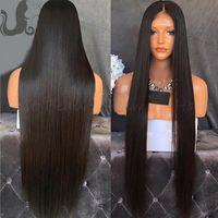 rendas frente 360 perucas Pré arrancada Liso Longo Preto Glueless peruana Virgin cabelo 100% cabelo humano perucas baratas com bebê Cabelos