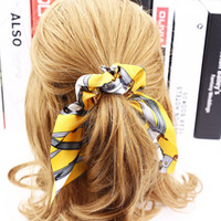 Drop shipping Bowknot Silk Hair Scrunchies Donna Perle Accessori per capelli Corda di capelli in gomma Coda di cavallo r Cravatta in nastro Scrunchie 12 pezzi