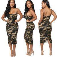 Mode d'été Femmes Sexy Casual manches moulante Camouflage Imprimer Clubwear Robe d'été Robe verte Robe camouflage