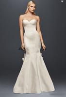 백색 웨딩 드레스 신부 가운 진정한 Zac Posen Seamed 인어 Satin 드레스 큰 활 겸손한 strapless 덮여 버튼 fishtail