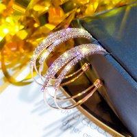 925 바늘 합금 귀걸 디자이너 슈퍼 반짝 사용자 정의 기능 고품질의 고급 지르콘 CC 원 후프 귀걸이 모조 다이아몬드