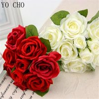 Silk Artificial Rose Flowers Bunch Mini Red Rose White Peony Wedding Bridal Home Party Christmas Decorations Fake Flowers