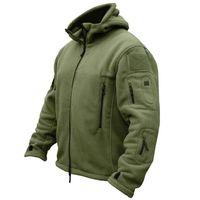 Autunno uomini fleece jacket tattici con cappuccio Softshell mens di inverno del rivestimento multi-tasca con cerniera Caldo Army Polar outwear