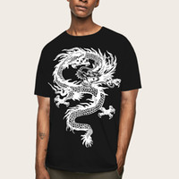 European size men' s Round neck dragon design Tee shirt ...