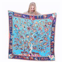venta caliente variedad de múltiples colores francesa árbol cuadrado de flores de diseño bufanda de la impresión de las señoras de lujo de la marca H chal azul grande sarga pañuelo de seda 130 *