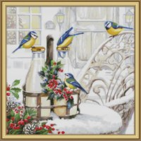 The bird on the milk bottle home cross stitch kit ,Handmade Cross Stitch border Border kits counted print on canvas DMC 14CT / 11CT
