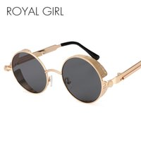 ROYAL GIRL Steampunk Round Sunglasses Men Coating Mirrored R...