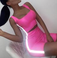 Seksi Kadınlar Tasarımcı eşofman 3M Yansıtıcı Mahsul Tops şort 2adet Giyim Skinny Slim Fit Şeker Renk Yaz Suits ayarlar