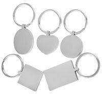 50pcs / lot poli en blanc Keychain en acier inoxydable rectangle Engravable Dog Tag solide usine Prix de gros Keyring