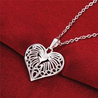 hot sale Heart women' s sterling silver plate Necklace, f...