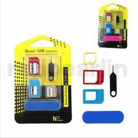 5 en 1 métal Nano Carte SIM / Carte SIM / Adaptateur convertisseur standard adaptateur convertisseur pour iPhone 4 tout cellpone avec broche d'éjection