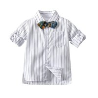 Everweekend Cute Boys Stripes White Bow Tees Camicie Western Fashion Gentleman Boys Primavera Autunno festa festa Top Camicetta