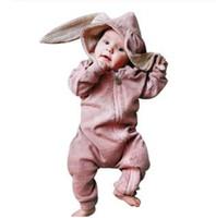 Детские Мальчики Девочки Твердые Молнии С Капюшоном Кролик Уха Комбинезон Одежда