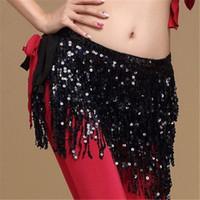 Femmes taille Jupes coréenne pailletée danse du ventre Danseur Strappy Tassel Fringe Glitter Hip Scarf Ceinture taille Mini Jupes Wrap