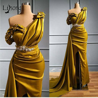 Yellow One Shoulder Mermaid Prom Dresses Sexy Crtstal Beaded Arabic Evening Gown Plus Size High Side Split Formal Party Bridesmaid Dress
