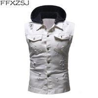Мужские жилеты FFXZSJ бренд 2021 одежда Jaquea Masculina осень зима уничтожена старинная джинсовая куртка с капюшоном жилет блузка