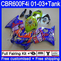 Gehäuse + Tank Für HONDA CBR 600 F4i CBR 600F4i CBR600FS 600 FS 286HM.0 CBR600F4i 01 02 03 CBR600 F4i 2001 2002 Verkleidungen Repsol Blau Grün